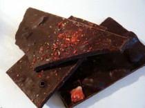 Scottish dark chocolate with raspberries