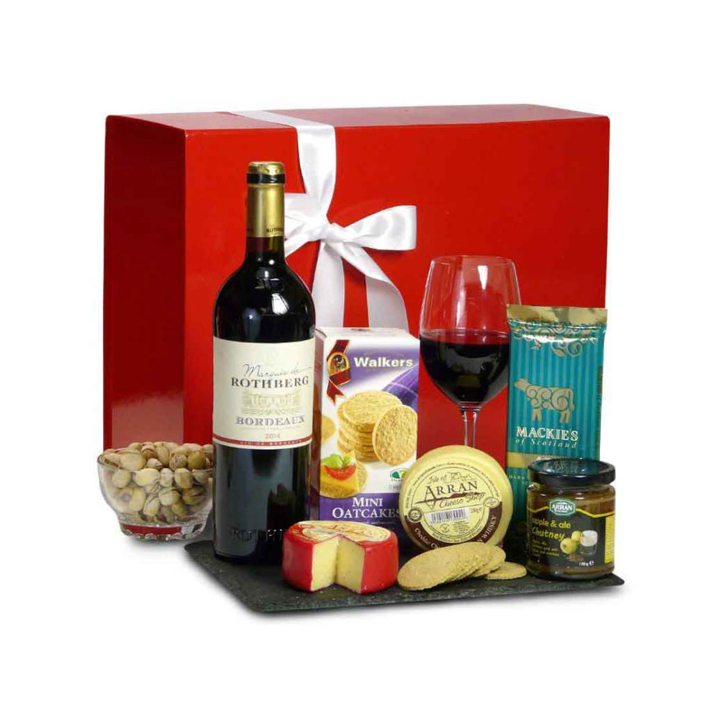 Scottish Cheese and Red Wine from Bordeaux hamper