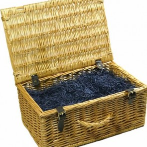 Wicker hamper with lid open